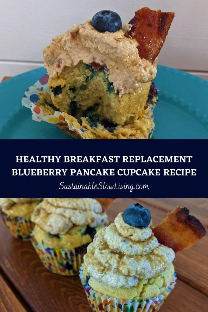 pinnable image for blueberry pancake cupcake recipe