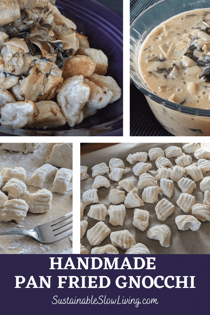 pinnable image for handmade pan fried gnocchi