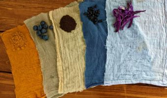 cloth swatches dyed with naturl dye made from kitchen ingredients on a table