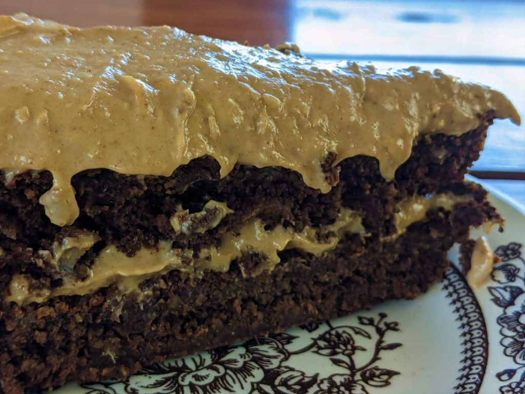 a slice of wfpb chocolate peanut butter cake on a serving dish