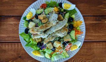 prep salad assembled on a plate